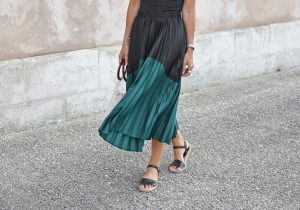 jupe plissee bi colore mi longue