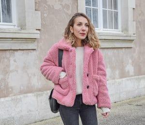 manteau rose teddy bear shein