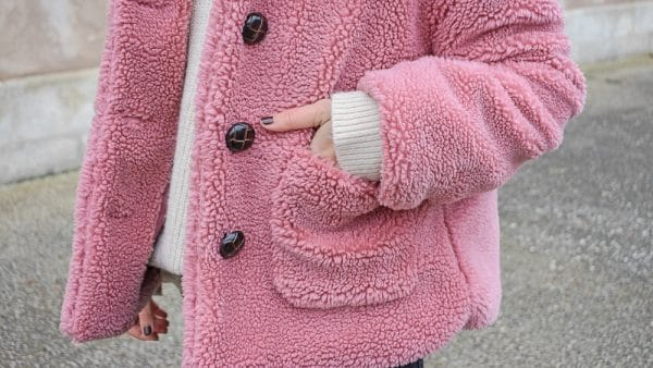 manteau rose teddy bear shein