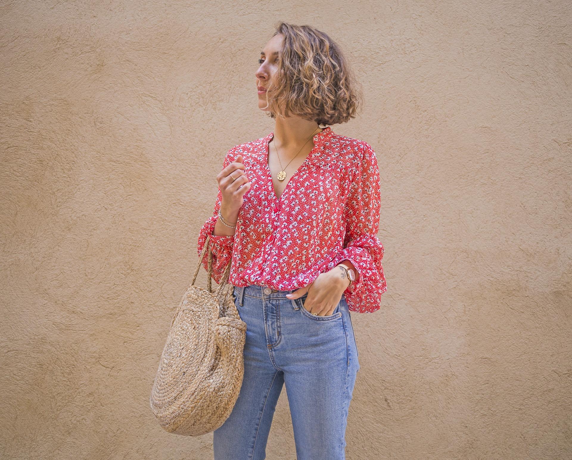 blog mode paris blouse rouge fluide marlene rougier fabrication française