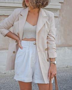 costume en lin blazer short lin nude beige NAKD