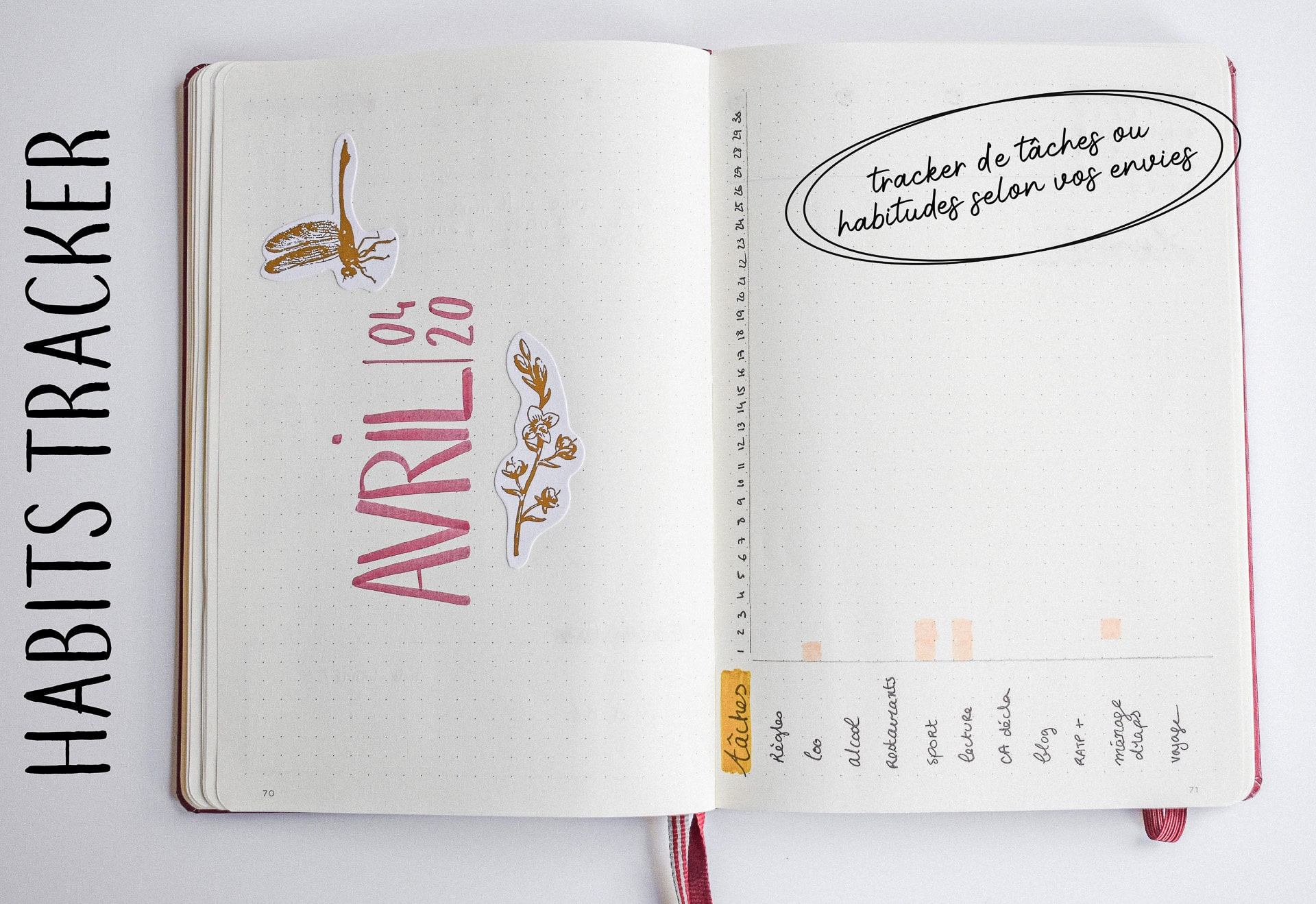 habits tracker monthly log bullet journal
