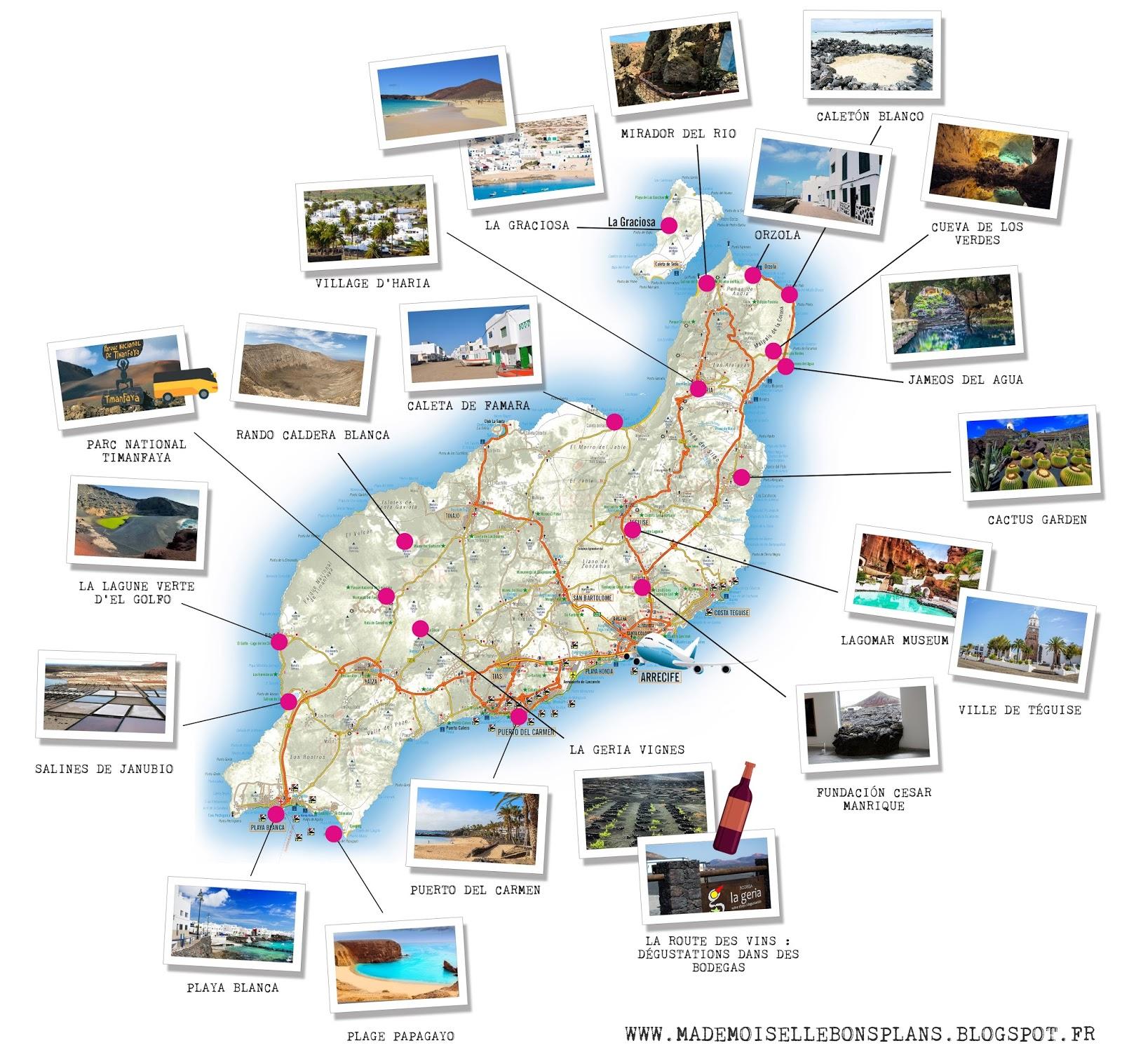 itineraire carte lanzarote